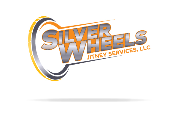 nwi logo design silver wheels jitney services word, letter, abstract
