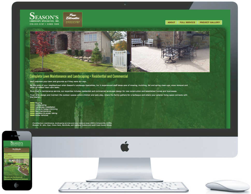 nwi website design Seasons Landscaping cms responsive